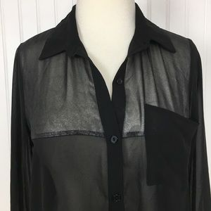 Lush sheer button up down black silver top small